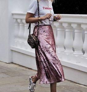 ροζ φούστα με πούλιες άσπρο T-shirt φούστα παγιέτα Χριστούγεννα