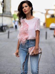 ροζ T-shirt φτερά
