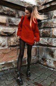 σκούρο κόκκινο πουλόβερ πουλόβερ χειμώνα 2020