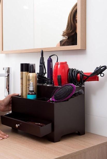 θήκη αποθήκευσης για προϊόντα μαλλιών πιστολάκι tips οργάνωσης μπάνιο