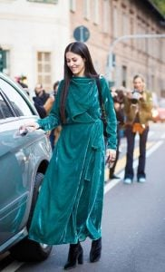 βελούδινο πετρόλ φόρεμα για Χριστούγεννα