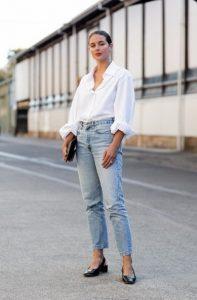 αντρικό άσπρο πουκάμισο τζιν