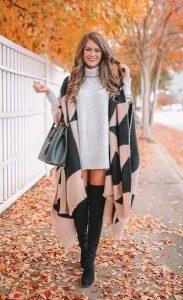 φθινοπωρινό σύνολο πλεκτό φόρεμα