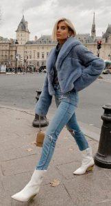 γούνα με τζιν παντελόνι