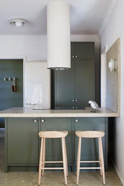 πράσινα ντουλάπια μοντέρνος απορροφητήρας