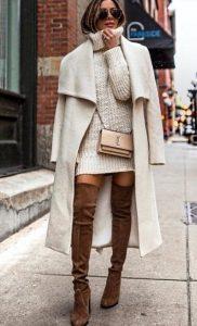 λευκό χειμερινό φόρεμα outfits