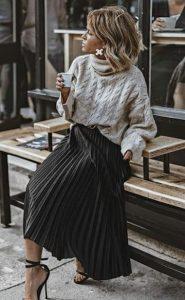 μαύρη πλισέ φούστα γκρι πλεκτό