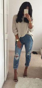 outfits πλεκτό μπλουζοφόρεμα
