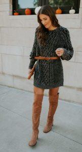 πλεκτό φόρεμα σουέντ μπότες