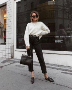 ψηλόμεσο μαύρο τζιν άσπρο πουλόβερ
