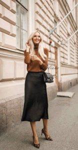 μαύρη σατέν φούστα