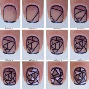σχέδια για νύχια βήμα βήμα γεωμετρικό σχέδιο
