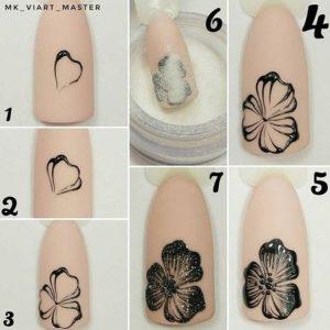 σχέδια για νύχια βήμα βήμα μαύρο λουλούδι