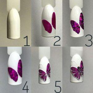 σχέδια για νύχια βήμα βήμα πεταλούδα