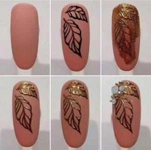 σχέδια για νύχια βήμα βήμα χρυσά φύλλα