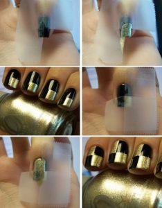 σχέδια για νύχια βήμα βήμα χρυσό καρό