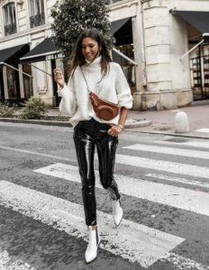 βινύλ μαύρο παντελόνι άσπρο πουλόβερ