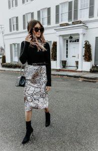 animal print φούστα μαύρο ζιβάγκο outfits brunch