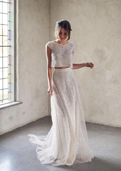 άσπρη φούστα άσπρο τοπ στρας