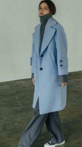 Γαλάζιο παλτό γυναικείο