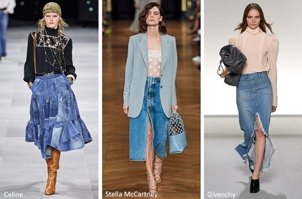 maxi jean φούστες άνοιξη καλοκαίρι 2020