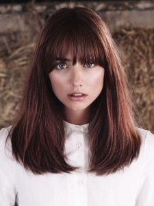 καστανοκόκκινο μαλλί πυκνή φράντζα