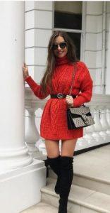 Κόκκινο ζιβάγκο πουλόβερ με ζώνη στη μέση