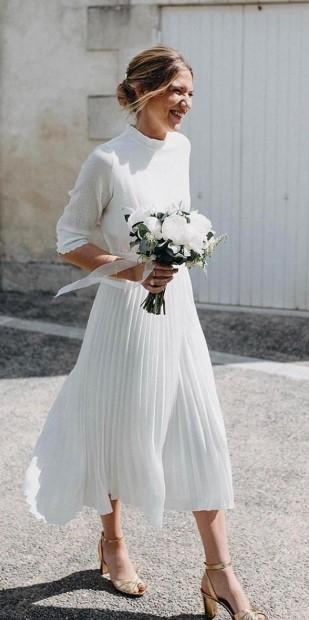 midi λευκό φόρεμα πλισέ πολιτικός γάμος