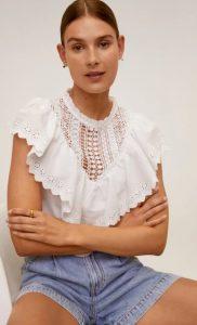 άσπρη γυναικεία μπλούζα με βολάν