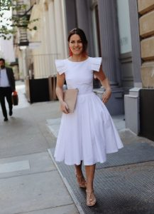 άσπρο midi φόρεμα βραδινά φορέματα καλοκαίρι