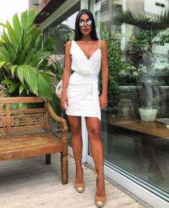 άσπρο μίνι φόρεμα τιράντα