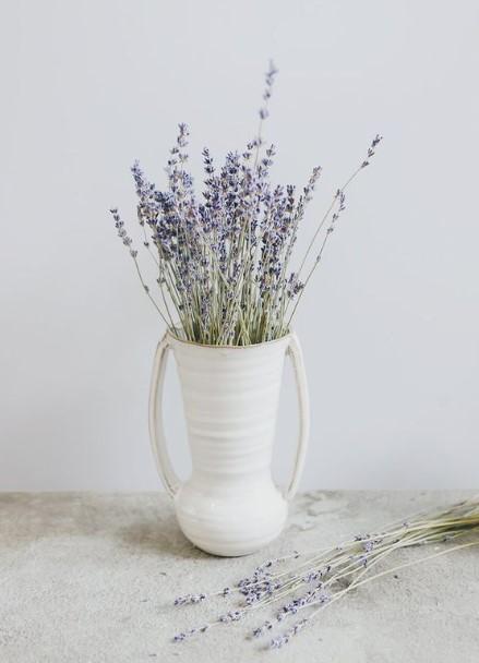 άσπρο βάζο μοβ λεβάντα φυτά φτιάχνουν διάθεση