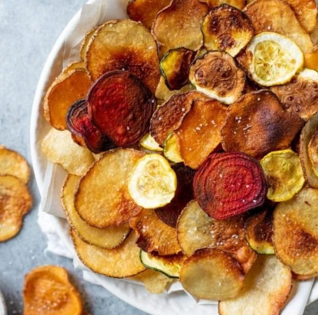 chips λαχανικών παντζάρι πατάτα γλυκοπατάτα