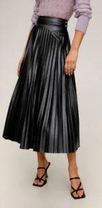 δερμάτινη μακριά πλισέ φούστα