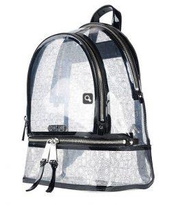 διάφανη τσάντα πλάτης μαύρες λεπτομέρειες τσάντες Michael Kors