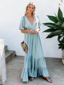 γαλάζιο μάξι φόρεμα βολάν