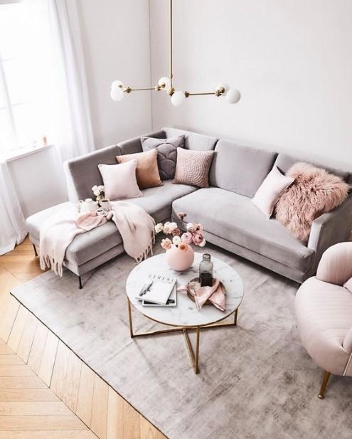 γωνιακός καναπές ροζ ριχτάρι διακοσμητικά σπίτι