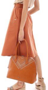 καφέ καθημερινή τσάντα boho ντύσιμο