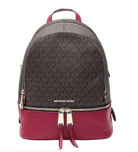 καφέ μοβ τσάντα πλάτης logo