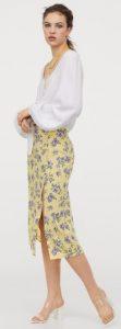 κίτρινη floral φούστα με σκίσιμο στο πλάι