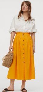 κίτρινη μακριά φούστα με κουμπιά