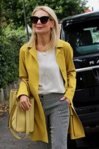 κίτρινο πανωφόρι κίτρινη τσάντα