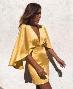 κίτρινο σατέν μίνι φόρεμα βραδινά φορέματα καλοκαίρι