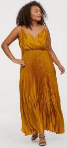κίτρινο σατέν τιραντέ φόρεμα