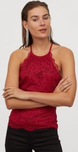 κόκκινη αμάνικη μπλούζα με δαντέλα