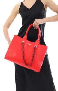 κόκκινη οικονομική τσάντα χειρός ediva.gr