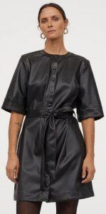 κοντομάνικο δερμάτινο φόρεμα h&m 2020
