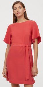 κοραλλί αέρινο φόρεμα με ζώνη