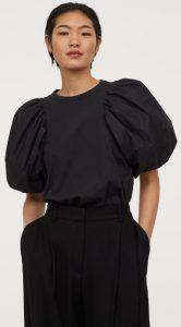 μαύρη καλοκαιρινή μπλούζα φουσκωτά μανίκια