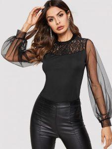 μαύρη μπλούζα με διαφανή μανίκια